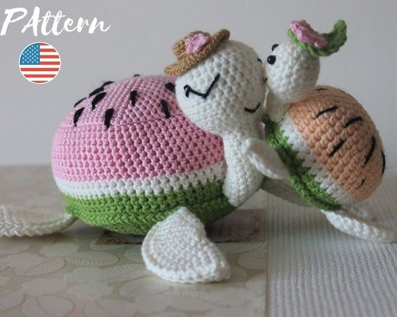 Crochet Amigurumi Turtle Patter, Watermelon Turtle, PDF Crochet Pattern – Instant Download -Crochet Sea Animal, Summer gift