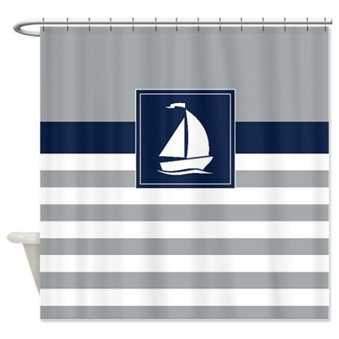Nautical Shower Curtain Preppy Stripes With Sailboat Navy Blue, Grey, White  OR Customize