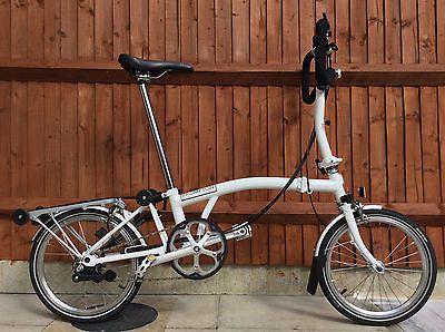 Brompton P6r White Six Speed Rack Lights Folding Bike Worldwide Shipping Brompton Bike