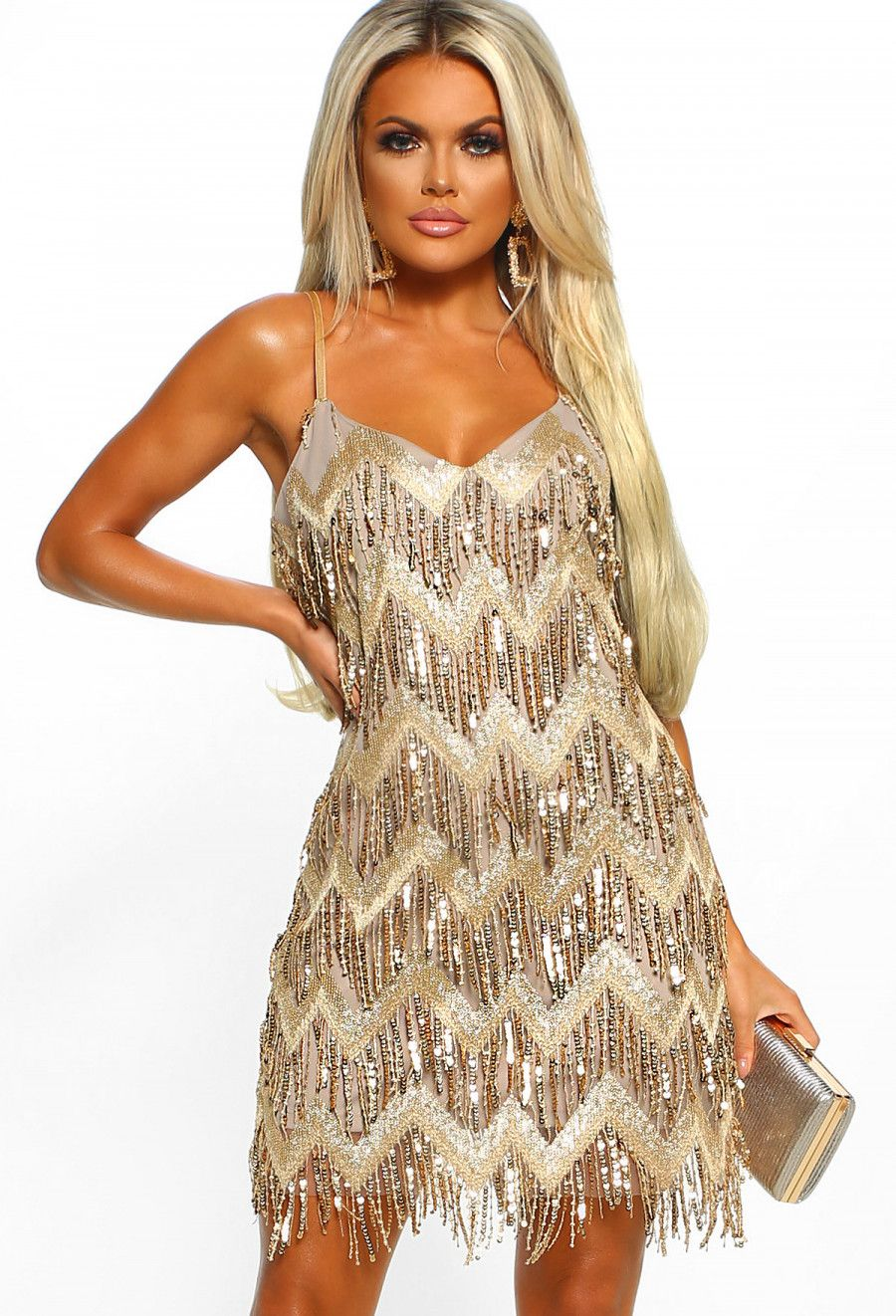 c40d01f62b995 Ultimate Glam Gold Sequin Fringe Mini Dress - 8   Outfits   Pink ...