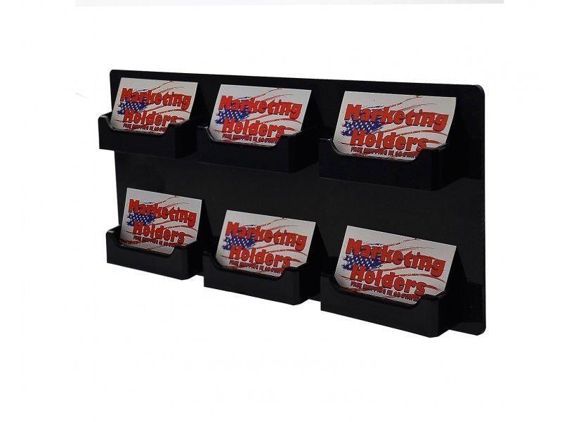 Wall Business Card Display Rack 6 Pocket Horizontal Wall Space Saver ...