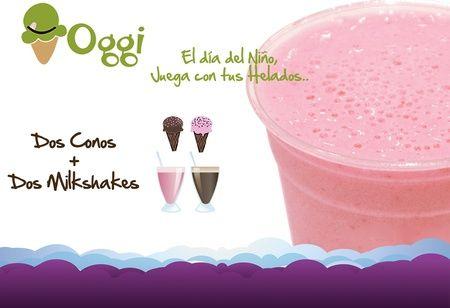 Mima a tu niño en su día!  Bs. 22 en vez de Bs. 44 por Dos milkshake + Dos conos simples de helado en Oggi