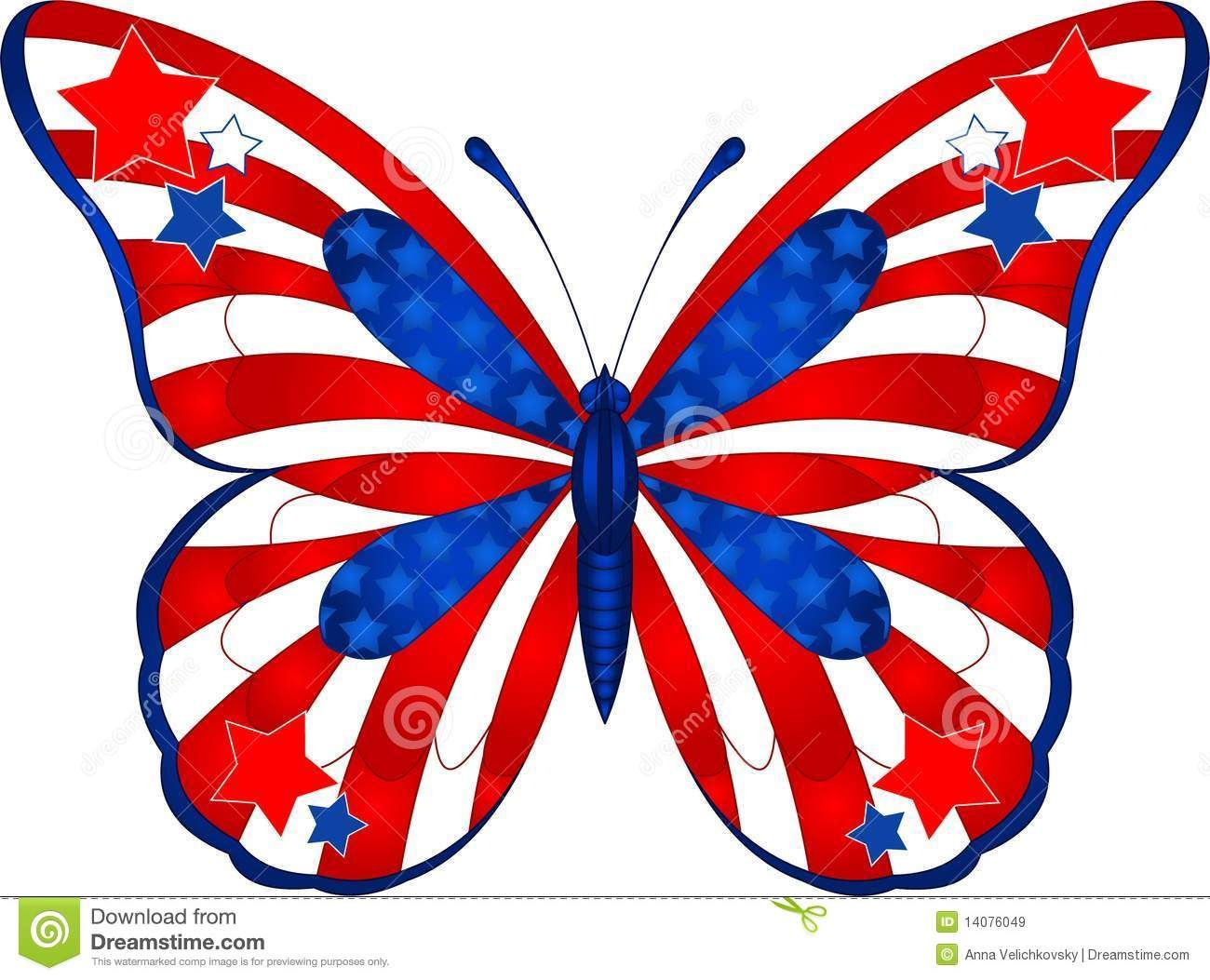 4th of july artwork beautiful butterfly in different colors representing usa  [ 1300 x 1053 Pixel ]
