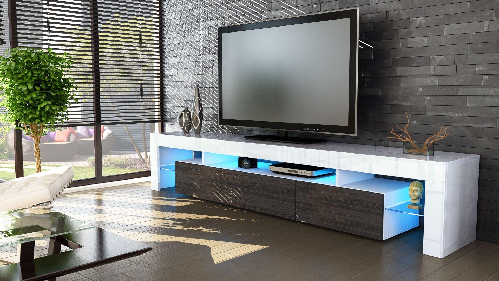 meuble tv blanc et bois wengé 199 cm | meuble tv | pinterest | tvs - Meuble Tv Design Wenge