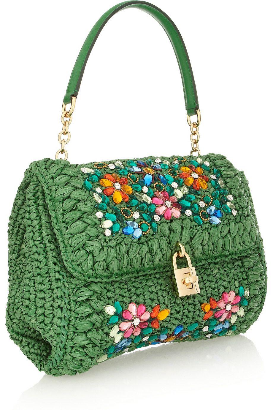 Dolce   gabbana Miss Dolce Medium Embellished Raffia and Leather Shoulder  Bag in Green   Lyst b715e2d867