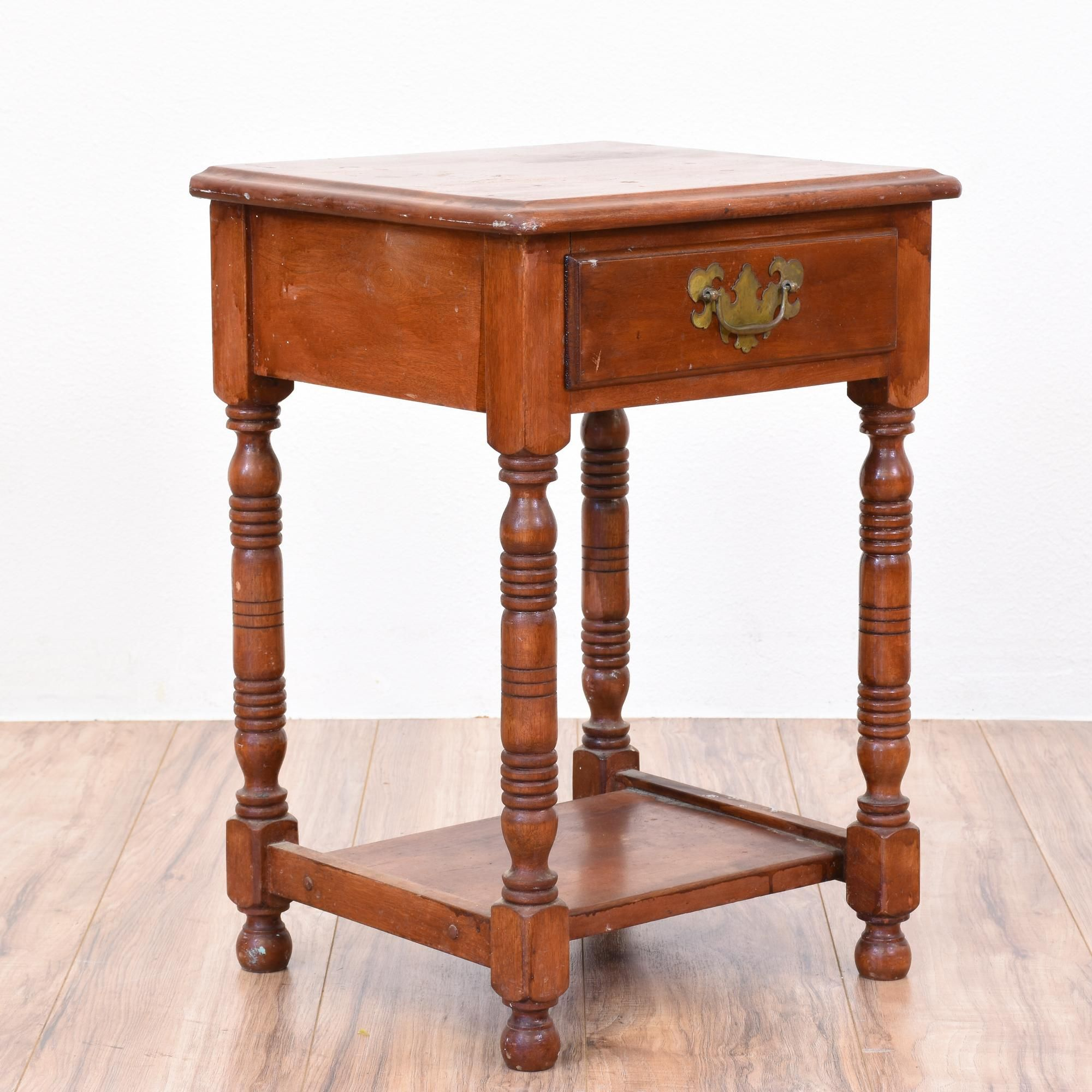 Delightful This 2 Tiered Colonial Nightstand Is Featured In A Solid Wood With A Glossy  Rustic Cherry Finish. This End Table Is In Great Condition With 1 Drawer,  ...
