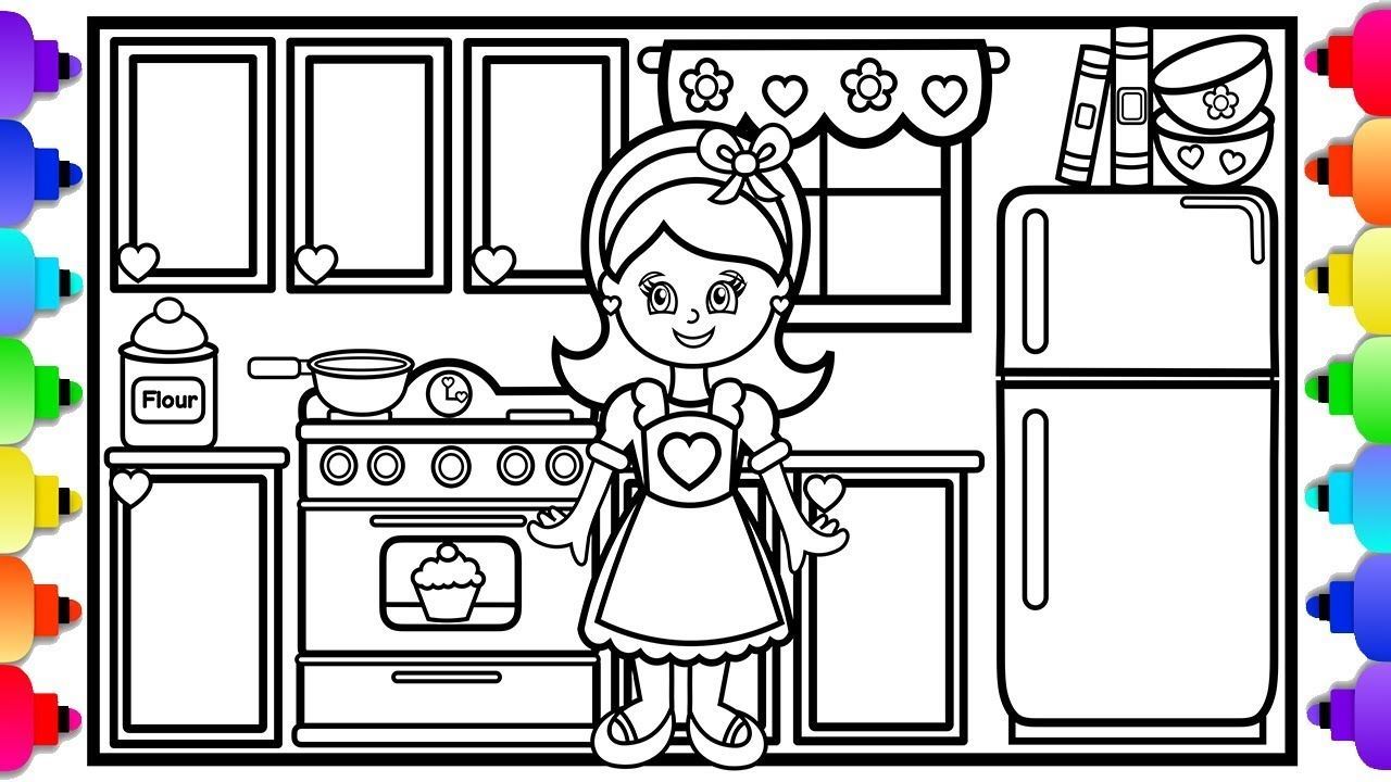 Visit Rainbowplayhouse Com To Print This Coloring Page How To Draw A Kitchen Step By Step Easy For Kids Doll Ho Kids Doll House Coloring Pages Drawings