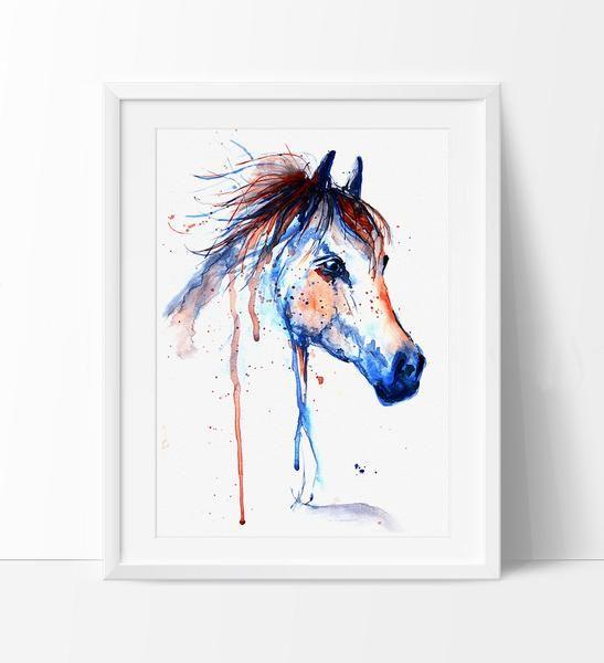 Horse art horse decor watercolor horse painting wall art print hors