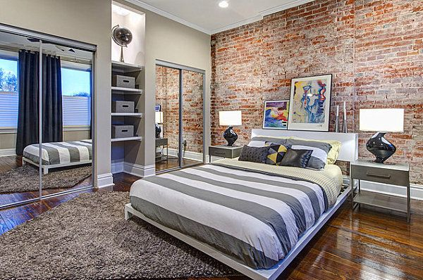 Delightful Mirrored Closets In A Modern Industrial Bedroom
