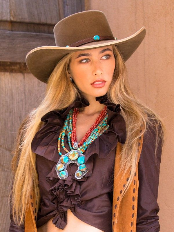 0e2cc50fe6637 Model shown here wearing Brit West s felt cowboy hat with Single Shot  Turquoise hatband. Also in the mix