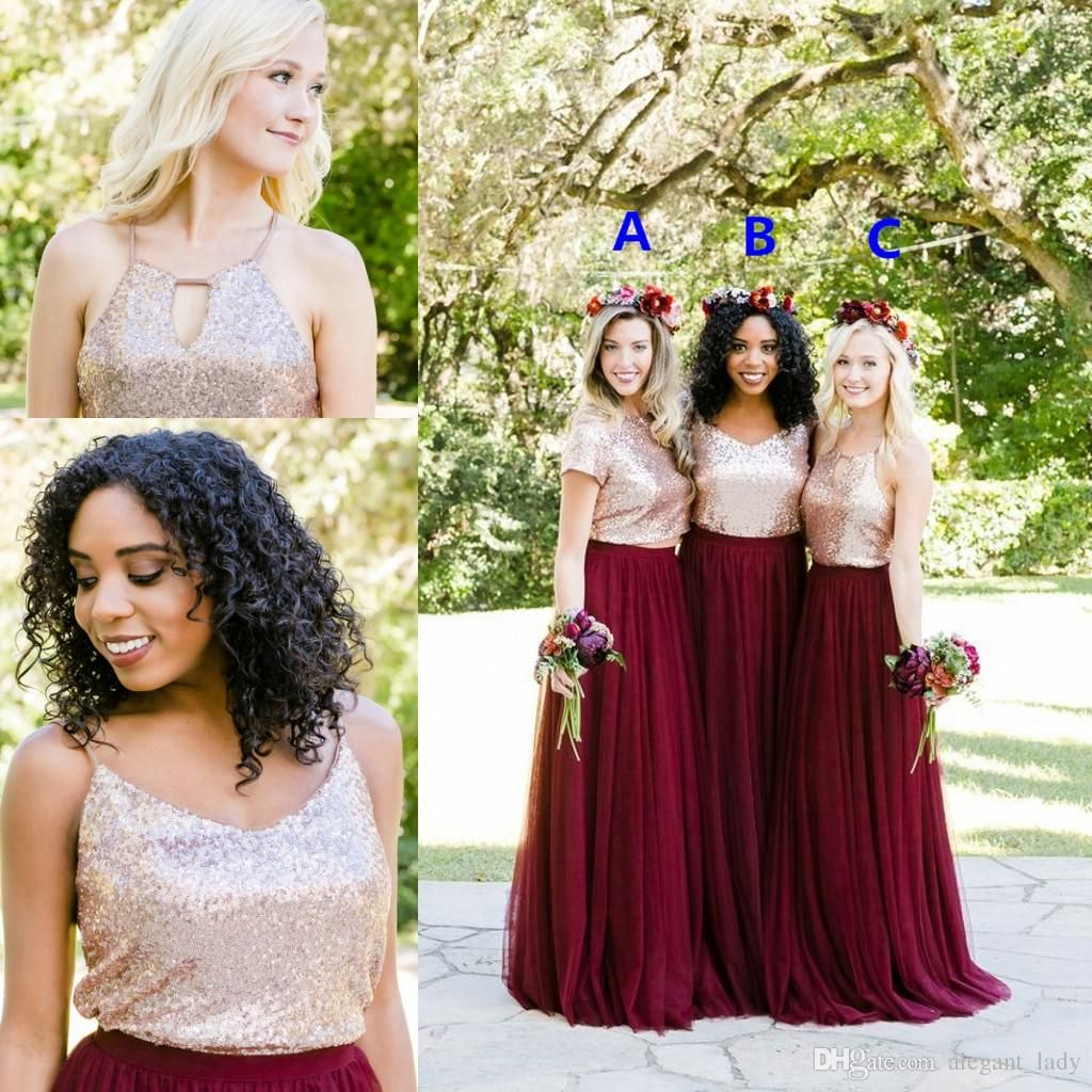 Two tone rose gold burgundy country bridesmaid dresses for Burgundy and gold wedding dress