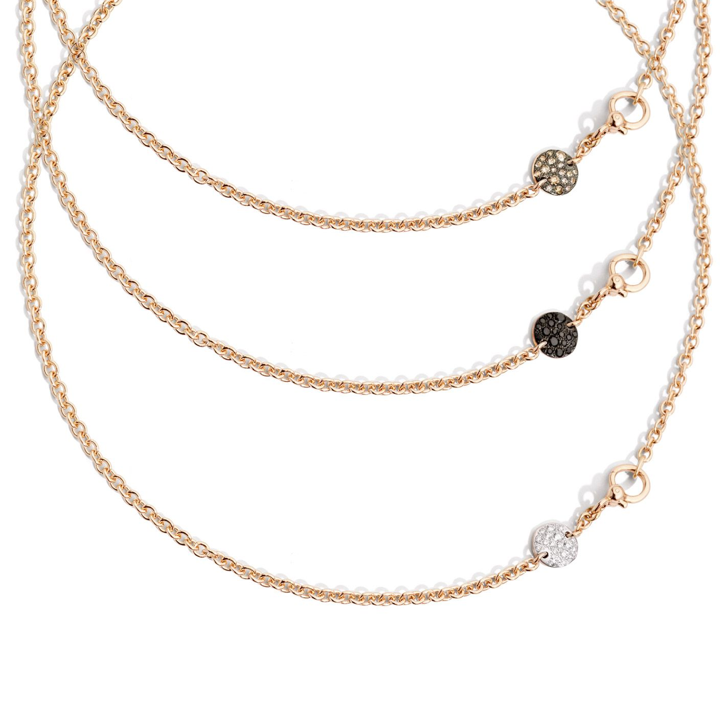 Sabbia Collection Necklace in Rose gold with black diamonds