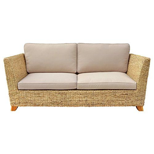 Charles Bentley Natural Water Hyacinth Three Seater Sofa With Padded ...