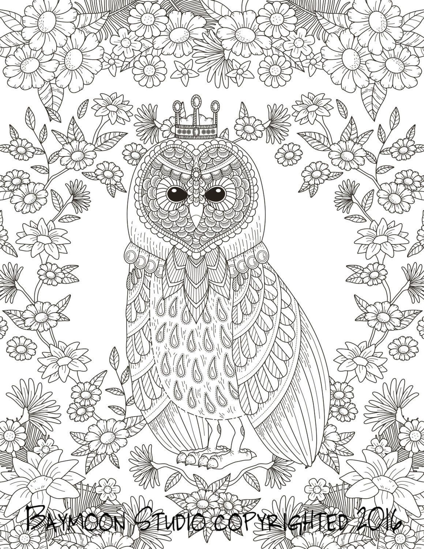 El adulto de búho Rey Página para colorear por BAYMOONSTUDIO | Buhos ...