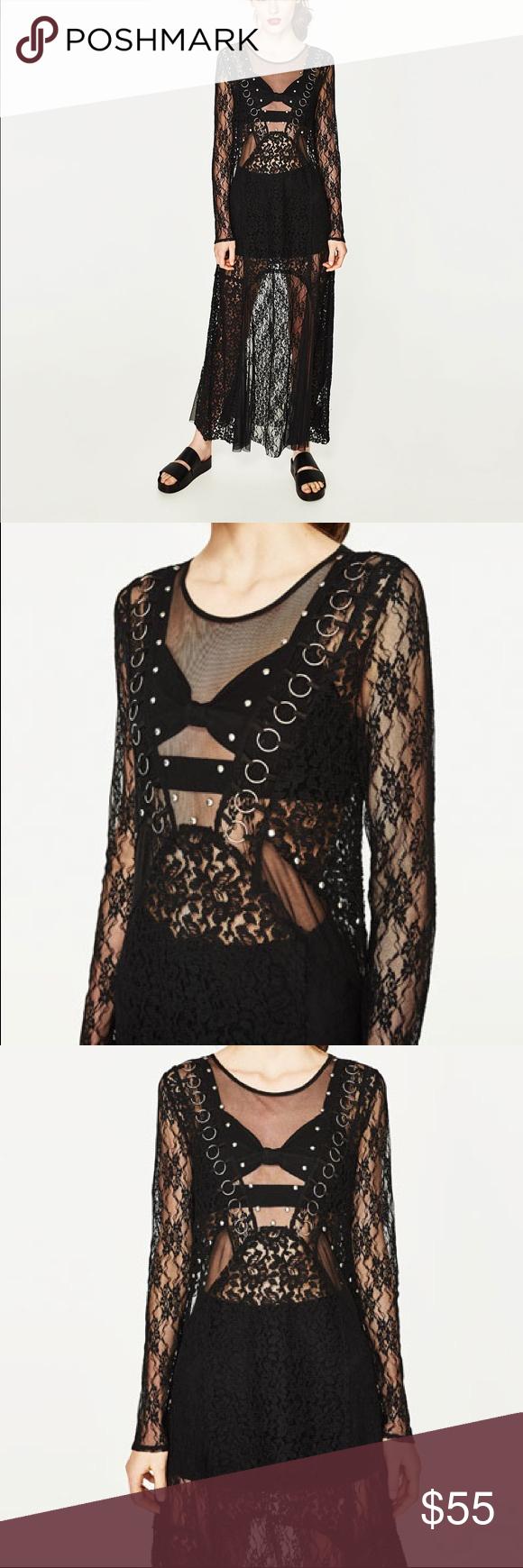 ba2df0ed49 Zara TRF black long lace dress Great dress for Halloween season..... look  sexy or mysterious or rocker chic depending on pairing.... sheer dress