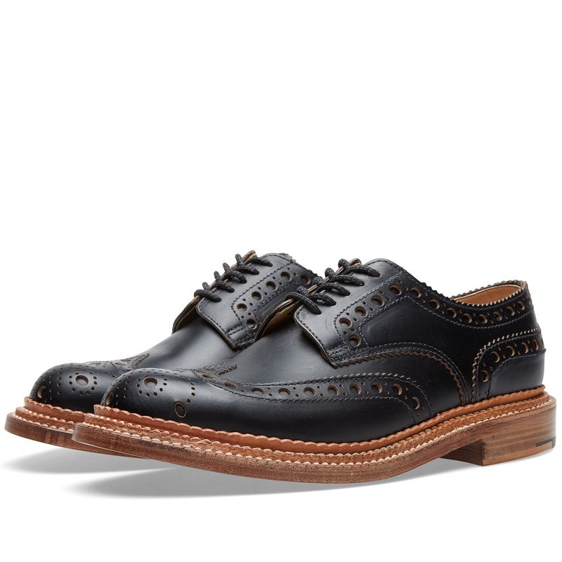 Grenson Brogues: Archie Triple Welt Black Grain