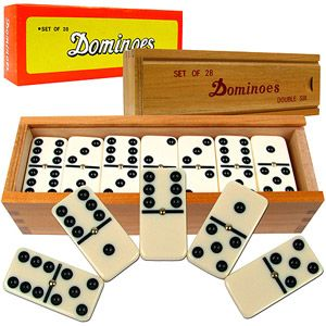 Play! Dominoes Set- 28 Piece Double-Six Ivory Domino Tiles Set 2-4 Players Classic Numbers Table Game with Wooden Carrying//Storage Case by Hey