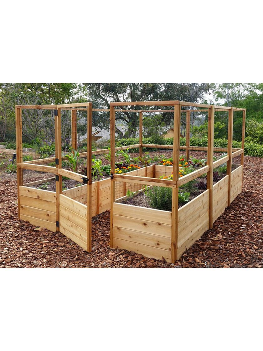 Raised Garden Bed 8'x8' or 8'x12' with Deer Fence Kit
