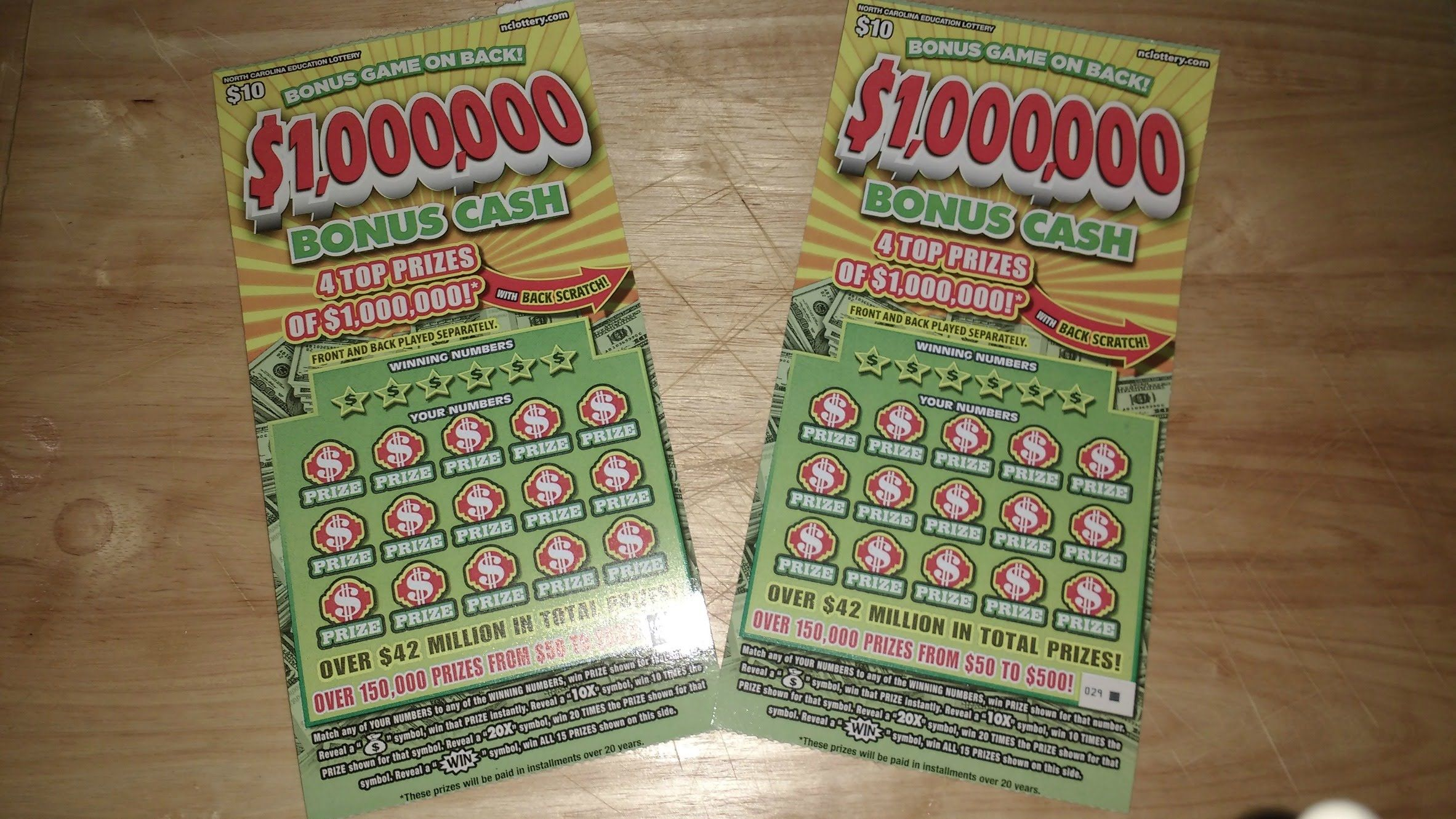 $1,000,000 Bonus Cash with Back Scratch NC Lottery | Lottery