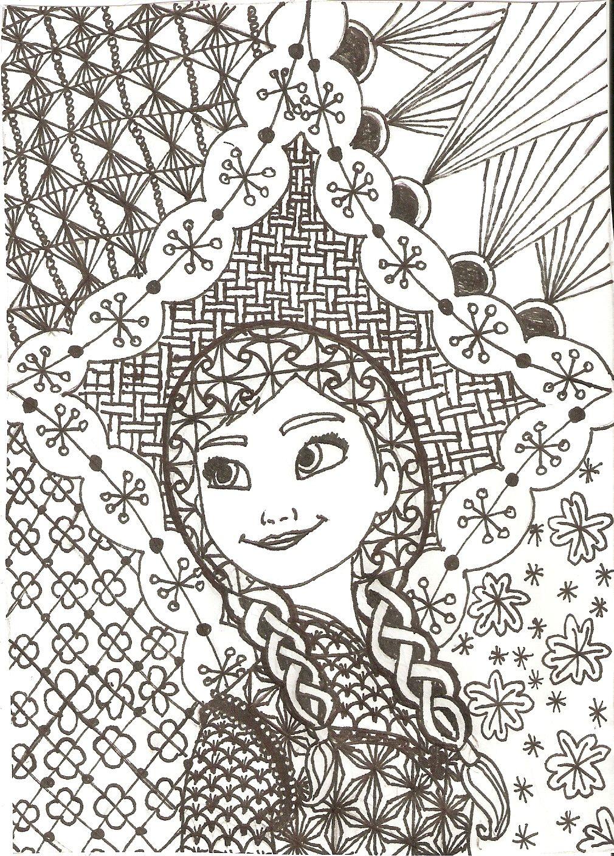 Zentangled Princesses: Anna by crystal-of-ix.deviantart.com on ...