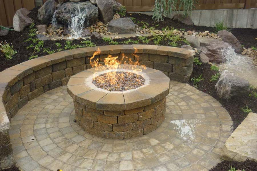 Fire Pit Contemporary Patio Above Ground Round Brown
