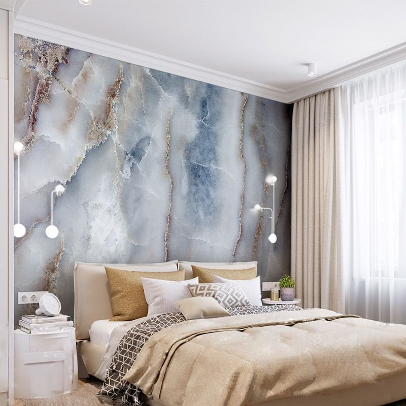 Stone Accent Wall Living Room Abstract: Custom Any Size Abstract Marble Stone Wall Cloth Living