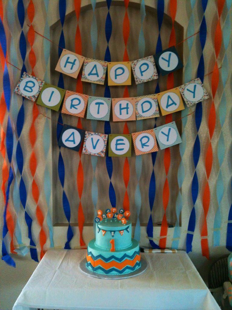 Orange light blue dark blue theme first birthday for my son