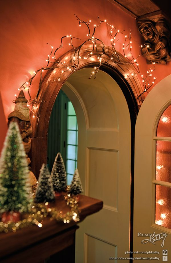 Christmas Decor Twig Garland For Indoor Or Outdoor Use Shape Them How You Want To Make Them Fit Rice Lights Twig Lights Christmas Lights Indoor Decor