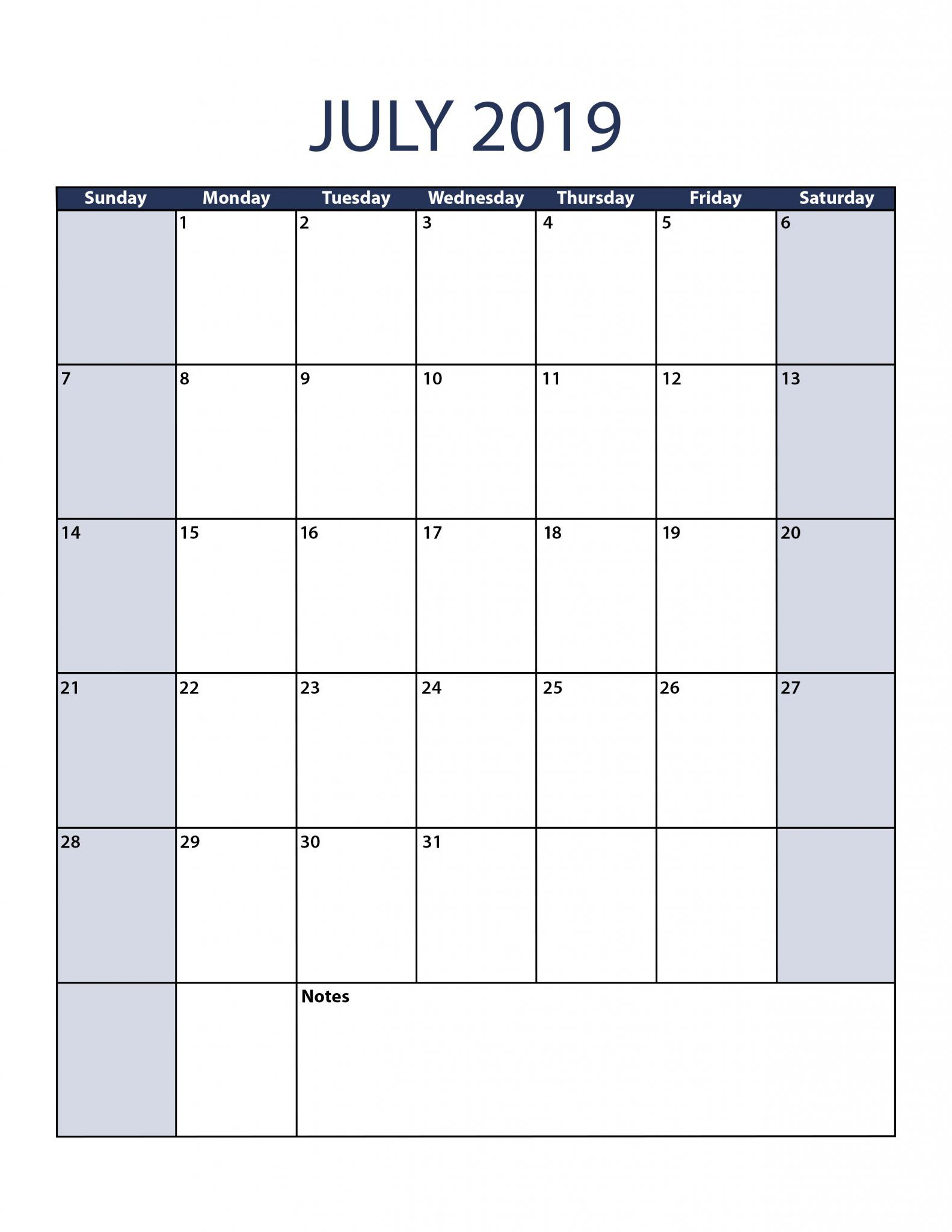 Free Printable July 2019 Calendar Template In Pdf Word Excel