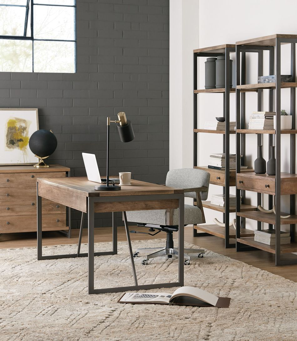 Photo of Industrial Style Metal/Wood Writing Desk by Hooker Furniture…