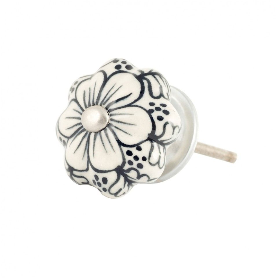 Bombay Duck samode flower door knob black and white with pearl ...