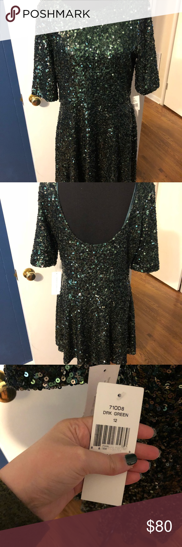 cf33f9b1 NWT - French Connection Emerald Green Sequin Dress NWT - French Connection  Emerald Green Swing Dress Flattering fit, all sequins fully intact with no  snags.