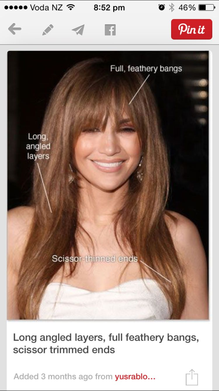 Long Heavy Bangs , Angled Long Pointy Layers, Soft Thin Ends