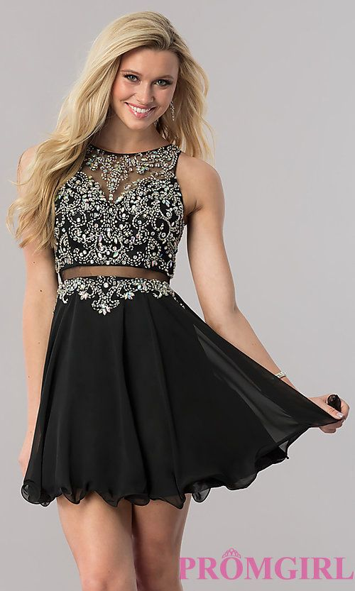 98569b0a Image of mock two-piece short a-line homecoming dress. Style: DQ-9550 Front  Image