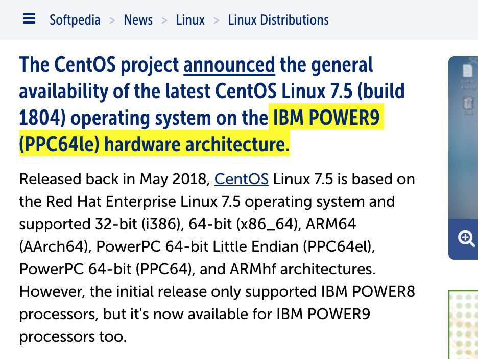 CentOS Linux 7.5 Operating System Is Now Available for IBM