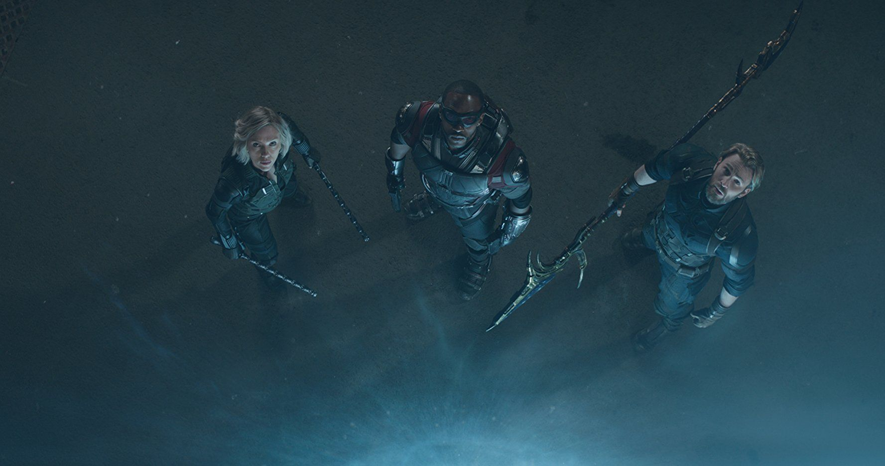 Chris Evans, Scarlett Johansson, and Anthony Mackie in