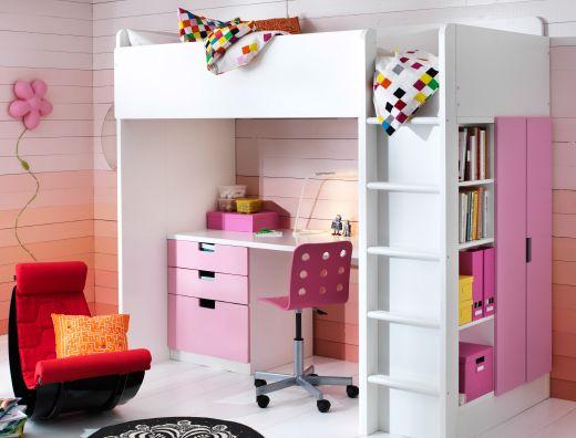 chambre d 39 enfant avec lit bureau et rangement tout en un stuva en blanc et rose chambre. Black Bedroom Furniture Sets. Home Design Ideas