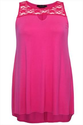 Magenta+Longline+Sleeveless+Top+With+Lace+Insert+And+Keyhole++49416 ... Yours Clothing
