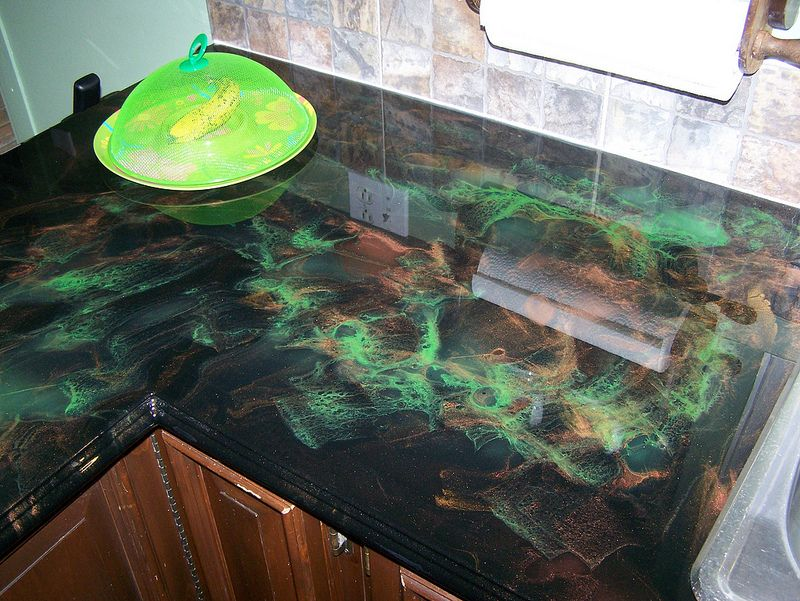 Black Copper And Translucent Green Diy Wood Countertops Custom