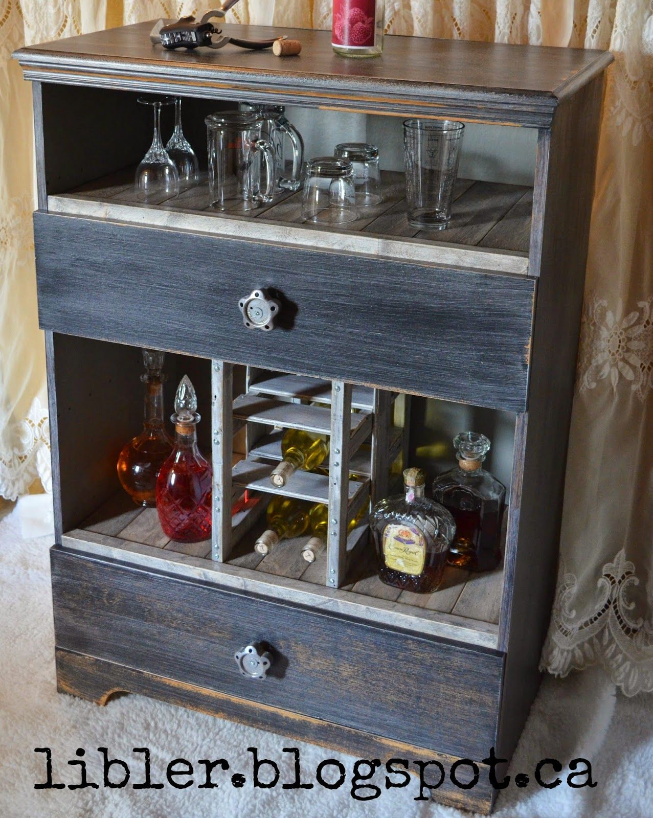 MacGIRLver Liquor Cabinet Made Out of an Old Dresser