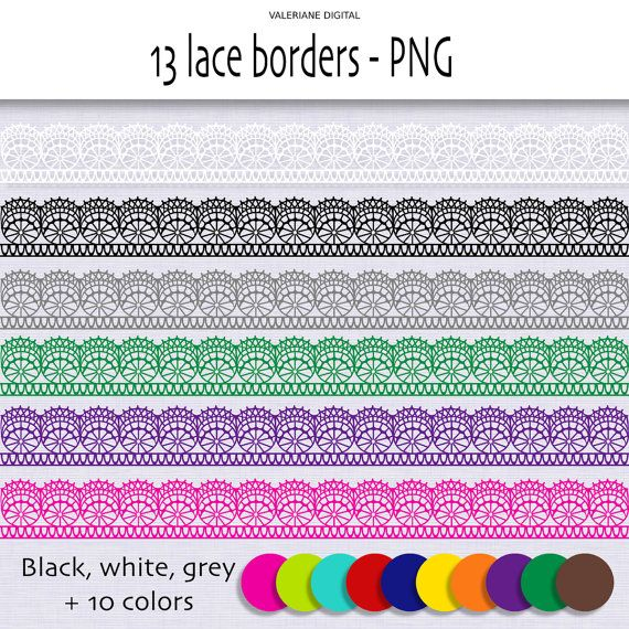 Lace Border Clip Art Ribbon Clipart In By ValerianeDigital