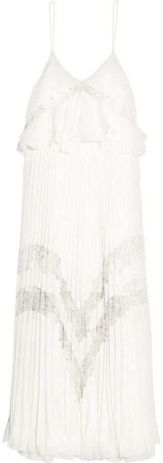 Self-Portrait Amelia Lace-Panelled Crepe De Chine Midi Dress (£290)