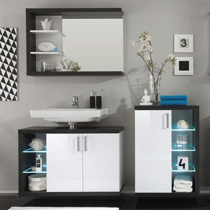 Ensemble meuble de salle de bain blanc et gris moderne LAGUNE