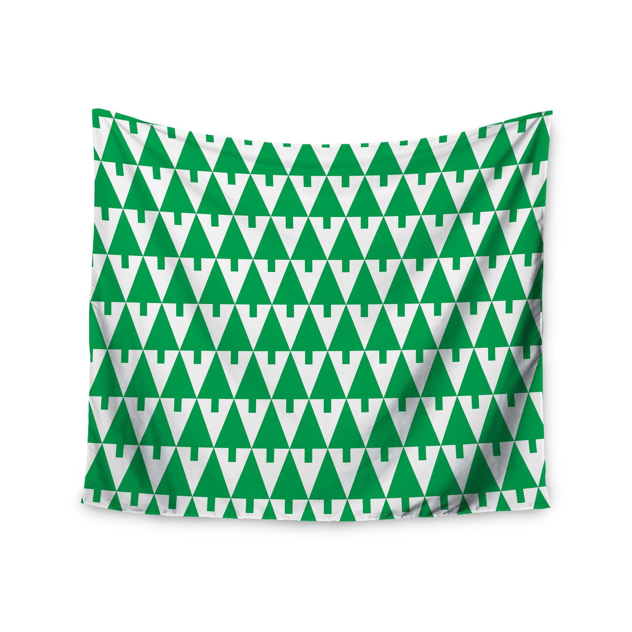 "Gabriela Fuente ""Happy X-Mas Green"" Illustration Geometric Wall Tapestry"