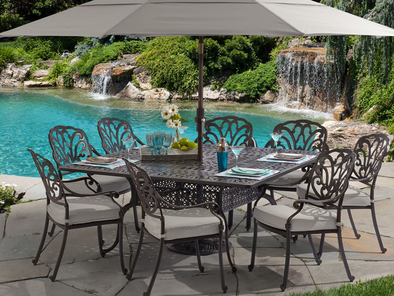 Toscano 9 Pc Cast Aluminum Dining Set Fortunoff Backyard Store