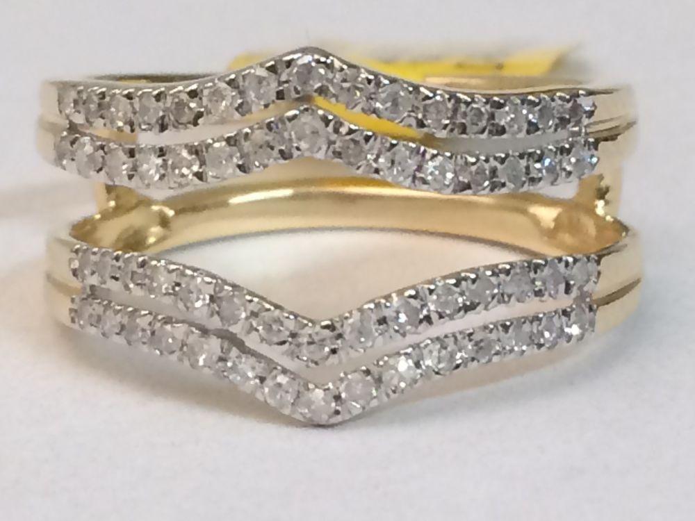 Yellow Gold Solitaire Enhancer Diamonds Ring Double Row Guard Wrap Wedding Band Wedding Ring Wraps Diamond Rings Bands Yellow Engagement Rings