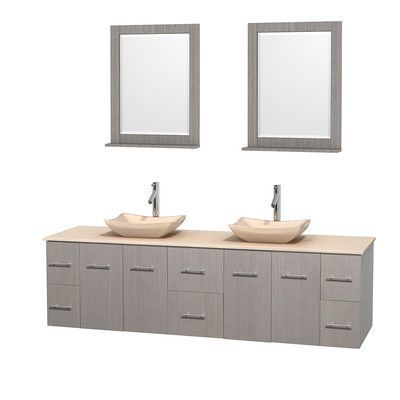"""Wyndham Collection Centra 80"""" Double Gray Oak Bathroom Vanity Set with Mirror Top Finish: Ivory Marble, Sink Finish: White Porcelain"""