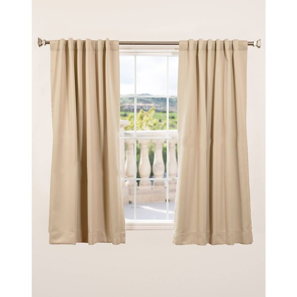 Exclusive Fabrics Thermal Blackout 63 Inch Curtain Panel Pair Biscotti 63L Gold