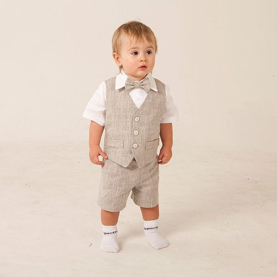 Ring bearer outfit Baby boy linen suit Boy baptism natural clothes ...