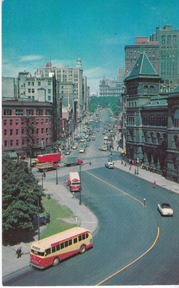 Ny Albany New York Vintage Post Card Plaza Neat Old City Bus Albany New York Vintage Postcards Albany